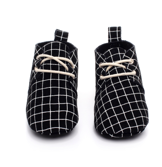 Baby Lace Up Oxford - Black & White Checker