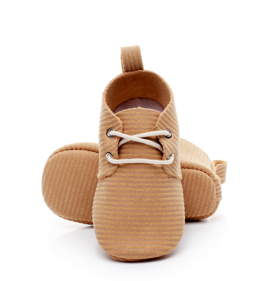Baby Lace Up Oxford - Tan Stripe