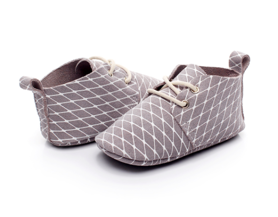 Baby Lace Up Oxford - Grey Checker
