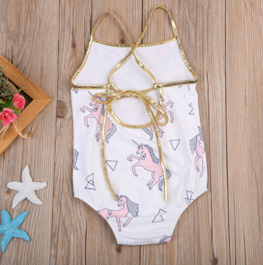Baby/Toddler Unicorn Gold Tie Romper