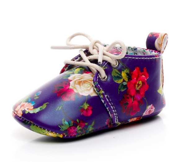 Baby Lace Up Oxford - Purple Floral