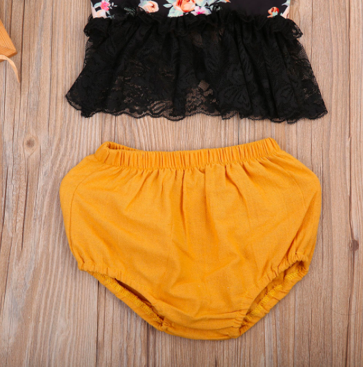 Baby/Toddler Floral Lace Top and Mustard Bloomer Set