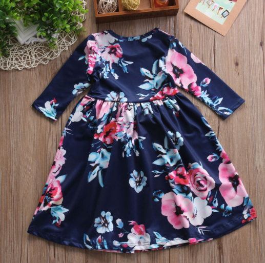 Baby/Toddler Navy Floral Dress