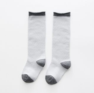 Baby/Toddler Grey and White Knee High Socks