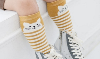 Baby/Toddler Mustard Striped Kitty Knee High Socks