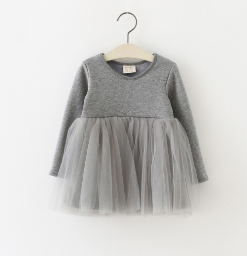Baby/Toddler Grey Tutu Long Sleeve Dress