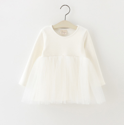 Baby/Toddler White Tutu Long Sleeve Dress
