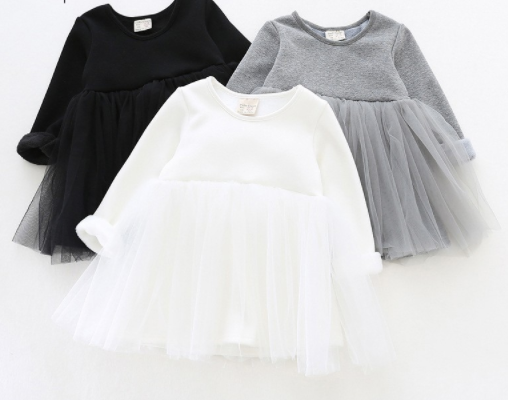 Baby/Toddler Black Tutu Long Sleeve Dress
