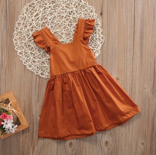Baby/Toddler Rust Bow Dress
