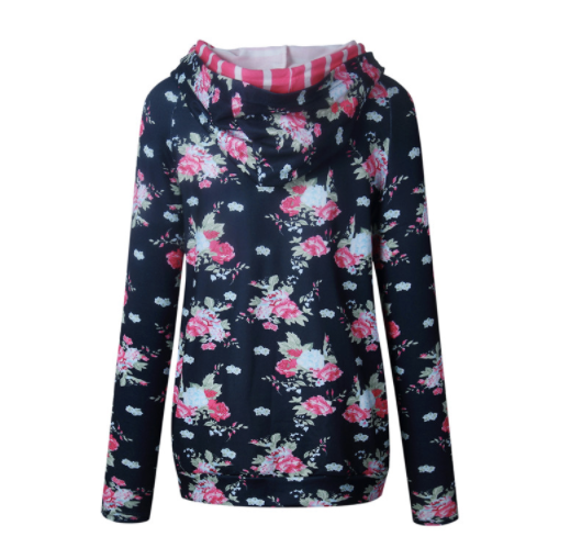 Women's Sweatshirt - Black Floral/Striped