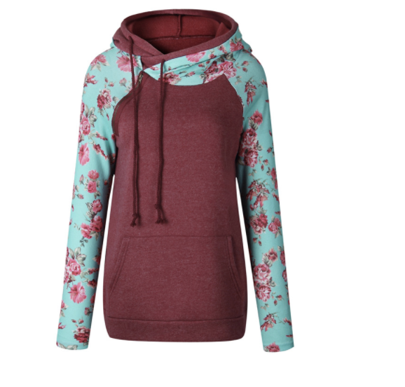 Women's Sweatshirt - Cranberry and Mint Floral