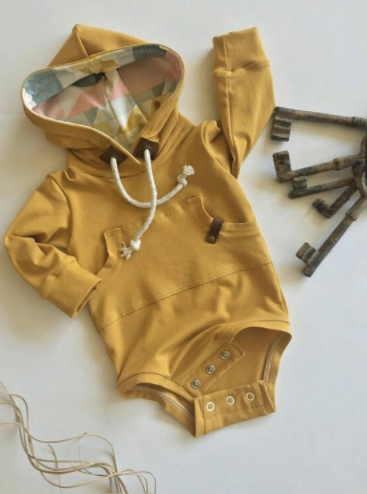 READY TO SHIP Mustard Hooded Bodysuit