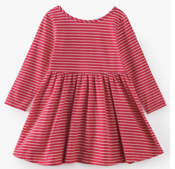 Baby/Toddler/Kids Red with White Stripe Swing Dress