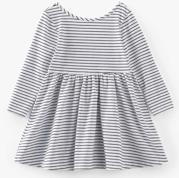 Baby/Toddler/Kids White with Black Stripe Swing Dress