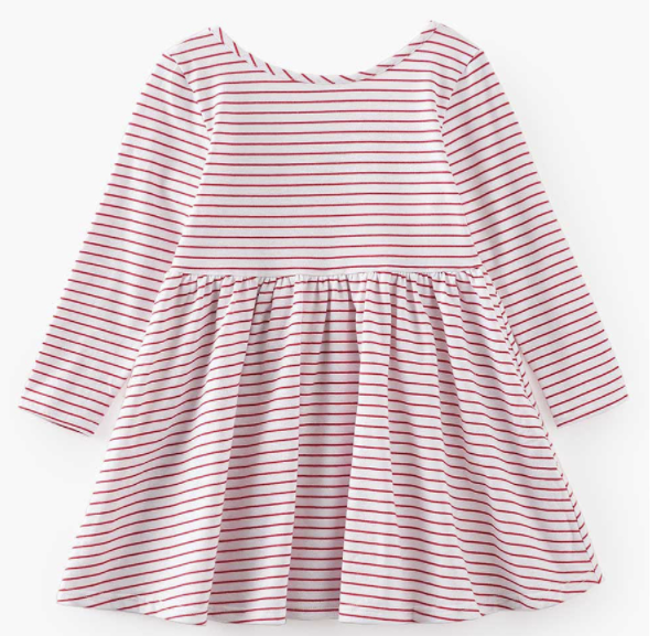 Baby/Toddler/Kids White with Red Stripe Swing Dress