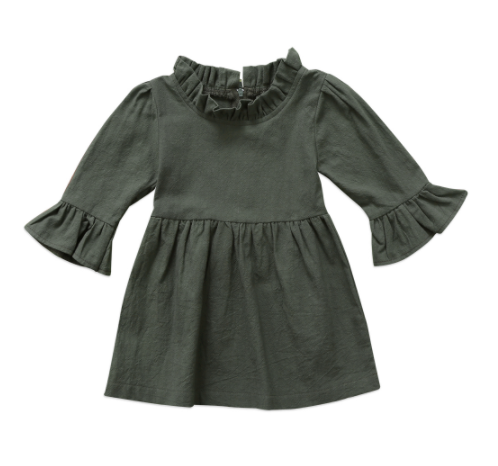 Baby/Toddler Forest Green Ruffle Sleeve Dress