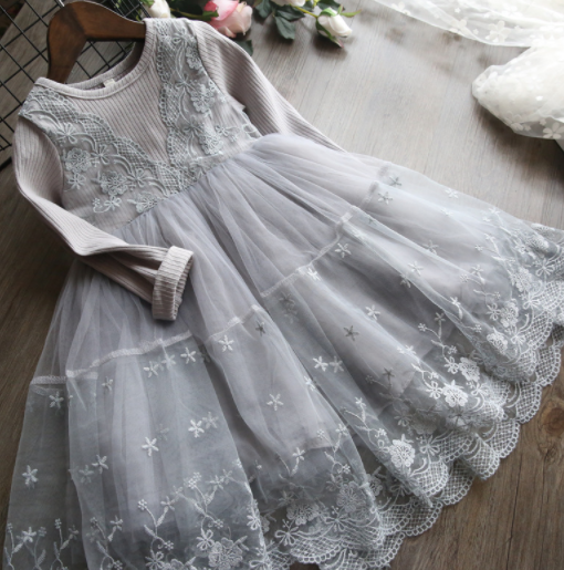 Baby/Toddler Grey Long Sleeve Lace Dress
