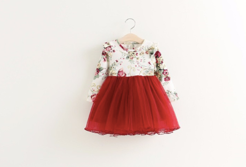 READY TO SHIP Red Floral Long Sleeve Dress