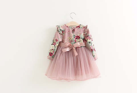 Baby/Toddler Blush Floral Long Sleeve Dress