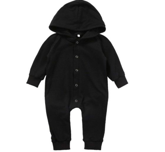 Baby/Toddler Black Hooded Snap Romper