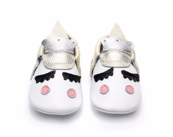 Baby Moccasins - Gold Unicorn