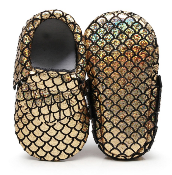 Baby Moccasins - Gold Mermaid
