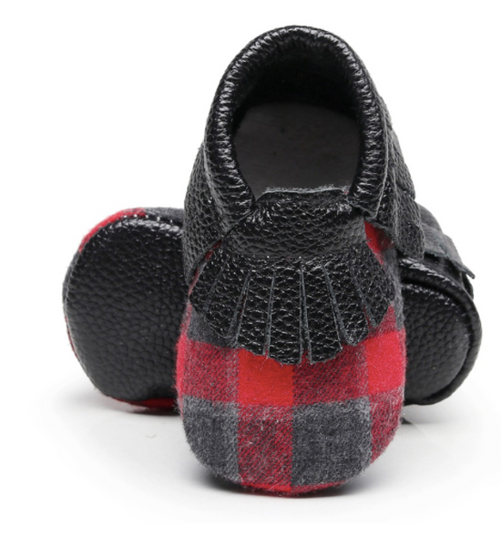 Baby Moccasins - Buffalo Plaid