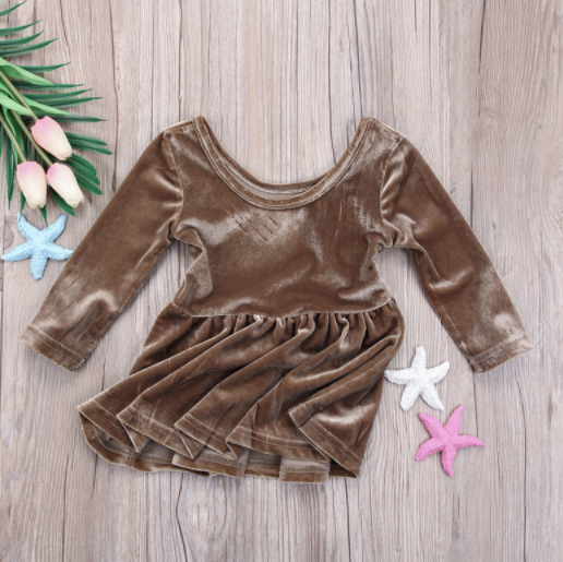 Baby/Toddler Gold Velvet Dress