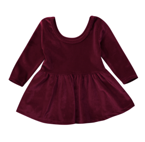 Baby/Toddler Wine Red Velvet Dress