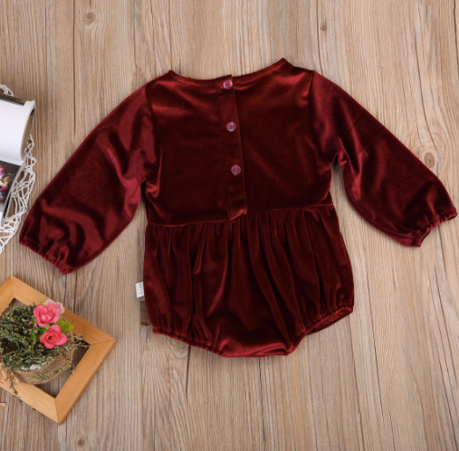Baby/Toddler Cranberry Long Sleeve Velvet Romper
