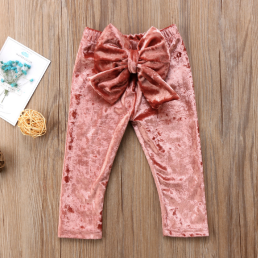 Baby/Toddler Velvet Blush Bow Pants
