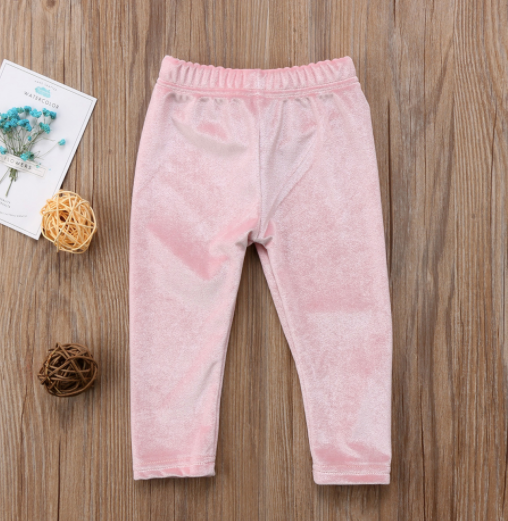 Baby/Toddler Velvet Pink Bow Pants