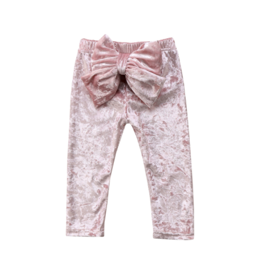 Baby/Toddler Velvet Soft Pink Bow Pants