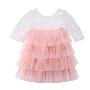 Baby/Toddler Pink Lace Long Sleeve Dress