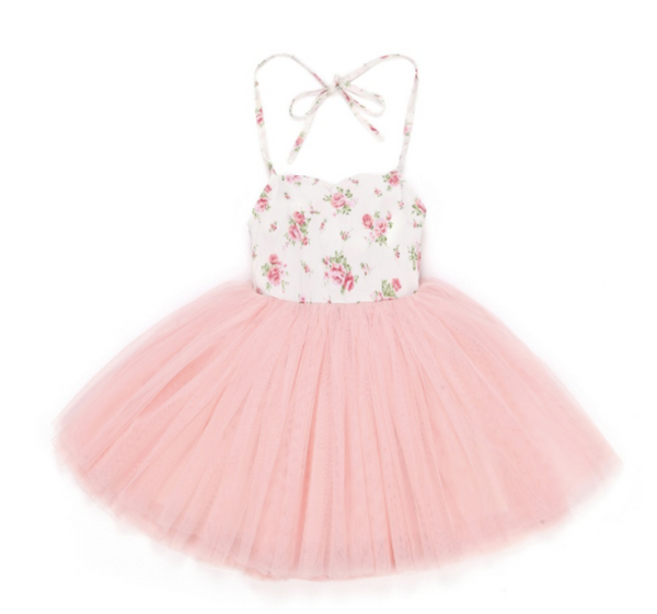 Baby/Toddler Pink Floral Tutu Halter Dress