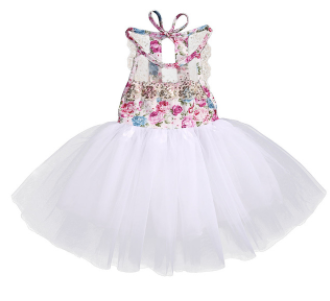 Baby/Toddler Floral Sequin Open Back Tutu Dress