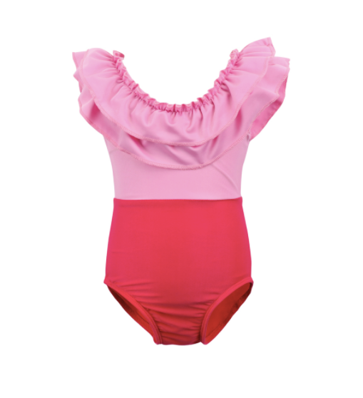 Mom and Baby Matching Pink Colorblock Bathing Suit