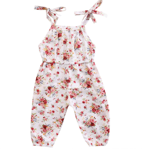 Baby/Toddler White Floral Tie Strap Romper