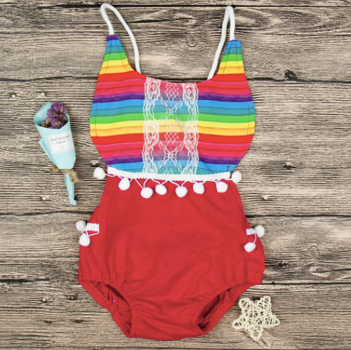 Baby/Toddler Rainbow Striped Romper