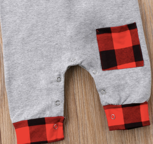 Baby/Toddler Buffalo Plaid Pocket Sleeveless Romper/Beanie Set