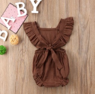 Baby/Toddler Brown Tie Back Romper