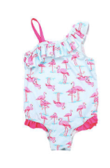 Baby/Toddler One Shoulder Flamingo Ruffle Swimsuit