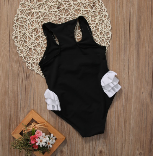 Baby/Toddler Double Swan Black Swimsuit