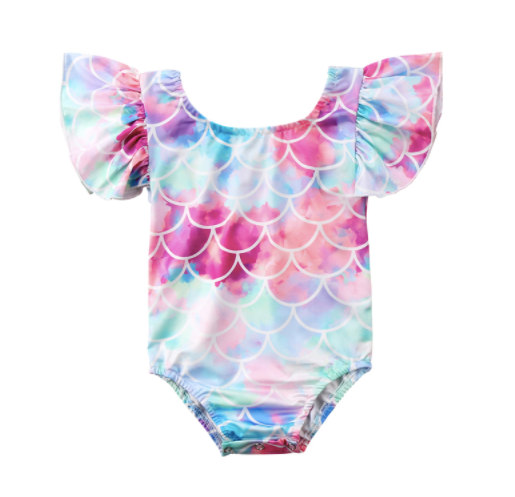 Baby/Toddler Watercolor Mermaid Sleeve Swimsuit