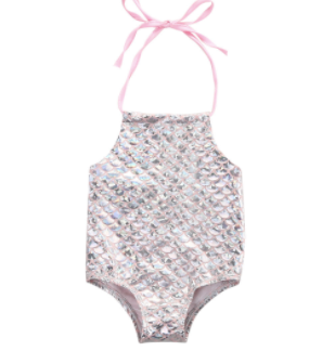 Baby/Toddler Pink/Silver Mermaid Swimsuit