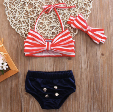Mom and Baby Matching Bow Knot High Waist Bathing Suit