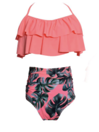 Mom and Baby Matching Pink High Waist With Leaves Bathing Suit