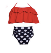 Mom and Baby Matching Red/Black/White Polka Dot High Waist Bathing Suit