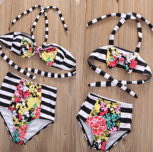 Mom and Baby Matching Black/White Stripe Floral Bathing Suit
