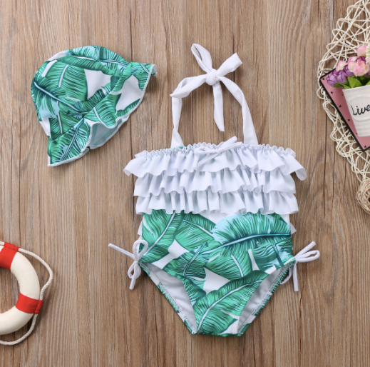 Mom and Baby Matching Green Leaves Bathing Suit